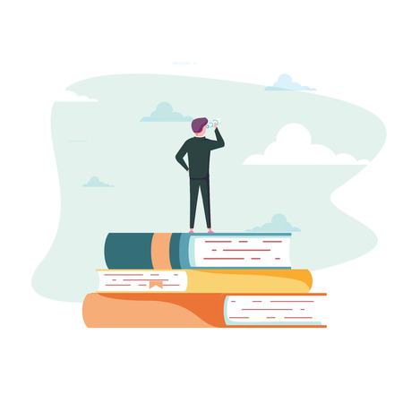 Education vector concept. Businessman or student standing on book looking at future. Symbol of career, job