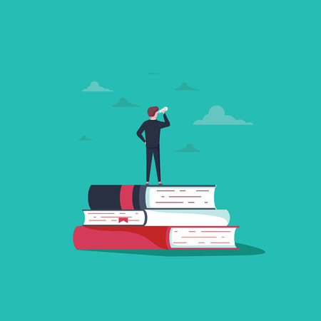 Education vector concept. Businessman or student standing on book looking at future. Symbol of career, job, graduate, achievement, wisdom. Eps10 vector illustration. Business education online courses.