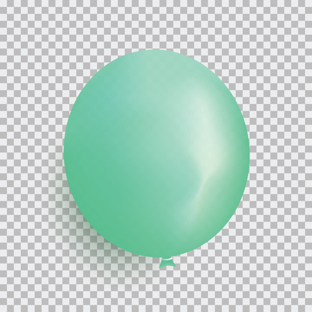 Balloon of green color realistic design vector isolated on transparent background. Balloon made from rubber latex polychloroprene or nylon fabric. Element for colorful background party and event.
