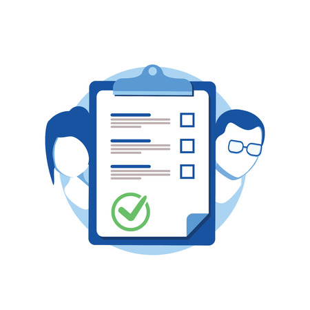Prenuptial agreement document, couple divorce, check list clipboard, sociology concept, questionnaire form, vector flat icon. Meeting husband and wife to sign agreement divorce papers. End of marriage Vektorové ilustrace
