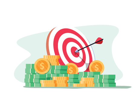 Target with arrow and pile of gold coins. Goal setting. Smart goal. Business target concept. Achievement and success. Vector illustration in flat style. Marketing business concept of winning targeting Illustration