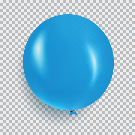 Balloon of blue color realistic design vector isolated on transparent background. Balloon made from rubber latex polychloroprene or nylon fabric. Element for colorful background party and event.