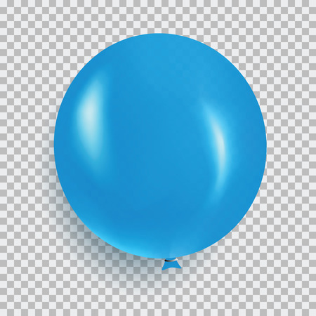 Balloon of blue color realistic design vector isolated on transparent background. Balloon made from rubber latex