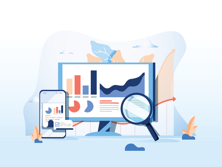 SEO reporting, data monitoring, web traffic analytics, Big data flat vector illustration on blue background. Foto de archivo