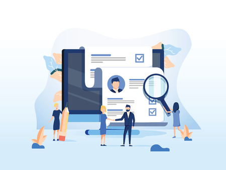 Human Resources, Recruitment Concept for web page, banner presentation, social media, documents cards and posters. Vector illustration HR, hiring, application form for employment, Looking for talent Vettoriali