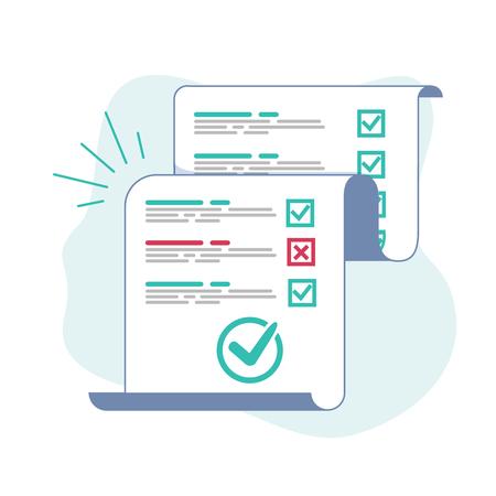 Umfrage- oder Prüfungsformular langes Papierblatt mit beantworteter Quiz-Checkliste und Erfolgsbewertung, Idee des Bildungstests