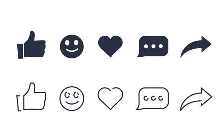 Thumbs up and with repost and comment icons on a white background. Social media icon, empathetic emoji reactions