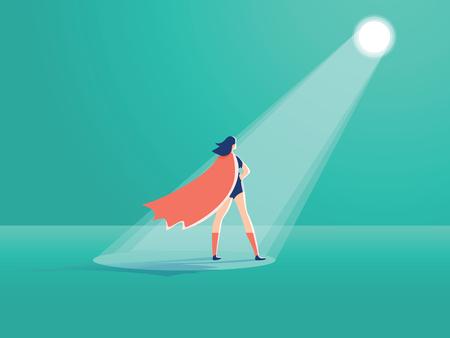 Business recruitment vector concept. Businesswoman superhero in spotlight. Symbol of hiring, headhunting talent Imagens