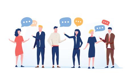 Vektor-Illustration flacher Stil, Geschäftsleute diskutieren soziale Netzwerkgruppe von Menschen, Nachrichten in sozialen Netzwerken, Meeting-Chat, Dialog-Sprechblasen. Flache Vektorillustration. Business-Coworking-Konferenz