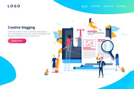 Concept d'illustration de blogs créatifs, groupe de personnes apprenant les blogs créatifs et la rédaction Vecteurs