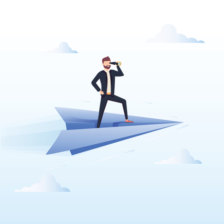Ready to Fly. Business vector concept illustration. Winner business and achievement concept. Business success. Big trophy for businessmen. Ambition success, achievment motivation business background