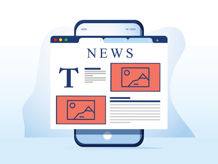 Reading news on smartphone. Online newspaper website opened in mobile browser on smart phone. News app, online media. Modern flat design. Vector illustration. Breaking news web design app on the phone