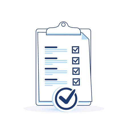Business marked to do checklist with seal. Successful completion of business tasks, clipboard paper, questionnaire concept, business brief. Cute flat light outline vector. Board time management CRM