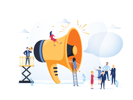 Business Advertising Promotion. Loudspeaker Talking to the Crowd. Big Megaphone and Flat People Characters Advertisement Marketing Concept. Vector illustration. Announcement business communication Illustration