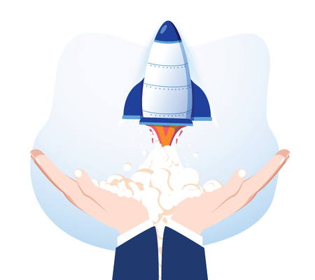 Rocket in hands isolated on background. Launch spaceship. Launching business product, project development. Start up, success concept. Vector flat cartoon design. Conceptual creative business success