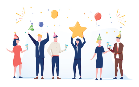 Cartoon happy little people. Cute miniature scene of workers preparing for celebration. Modern cartoon vector illustration. Work holiday 2019 businessman and woman celebrating. Cheerful company 일러스트