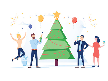 Business People Celebrating New Year 2019 Party. Flat Characters in Santa Hat Toasting Champagne. Christmas Eve with Cartoons, Tree and Confetti. Vector illustration. Happy New Year business postcard