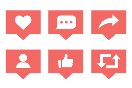 Social media set notifications icons like follower and comment with share icons. Vector illustration. Social media marketing illustrations. SMM business symbols for presentation or website interface.