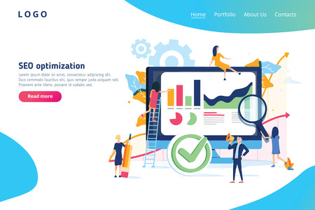 Seo optimization modern flat design gradients concept. Search engine and people concept. Landing page template. Conceptual gradients vector illustration for web and graphic design. SEO engine website 일러스트