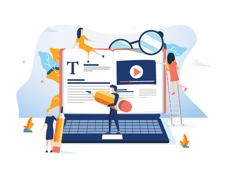 Concept Profesjonalne szkolenie, edukacyjny film instruktażowy na stronę internetową, baner, prezentację, dokumenty w mediach społecznościowych. kursy biznesowe online, prezentacja Ilustracja wektorowa Podcast umiejętności fachowych