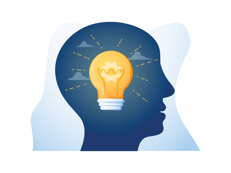 Concetto di mentoring, guida e leadership, empatia e comunicazione, testa a faccia, negoziazione e persuasione, terreno comune, intelligenza emotiva, illustrazione vettoriale piatta