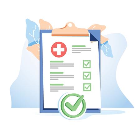Liste de formulaires médicaux avec données de résultats et vecteur de coche approuvé, document de liste de contrôle clinique de dessin animé plat avec case à cocher, assurance électronique en ligne, service de médecine. Icône de concept de formulaire en ligne d'aide