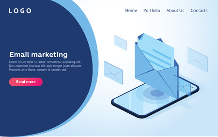 Header for website. Homepage. Concept of mobile email notification. Communication, distribution of information, sending of email. 3d isometric design. Vector illustration. Email or smm marketing web