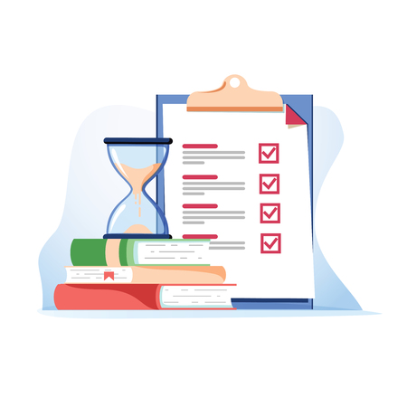 Exam preparation school test. Examination concept checklist and hourglass, choosing answer questionnaire form, education vector flat illustration. Online course learning exam. Fill out form summary 일러스트