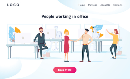 People work in a office and interact with devices. Business, workflow management and office situations. Landing page template. Flat vector illustration. Business brainstorming corporate teamwork.