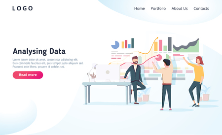 People interacting with charts and analysing statistics. Vector data visualisation concept. Vector illustration. Team analysing tool business concept. Teamwork software for time management interface 일러스트