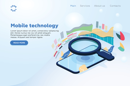 Isometric illustrations design concept mobile technology solution on top with search engine. Gradient background and digital graph chart thin line. Vector illustrate. Analytics mobile first technology 일러스트