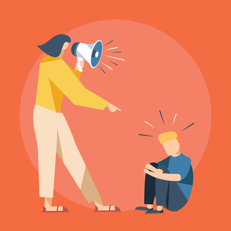 Vector cartoon illustration of Mother cry at boy with. Cute Boy crying and His Mom shot swearing in loudspeacker. Child abuse accident with paren yelling and young son unhappy. Family problems