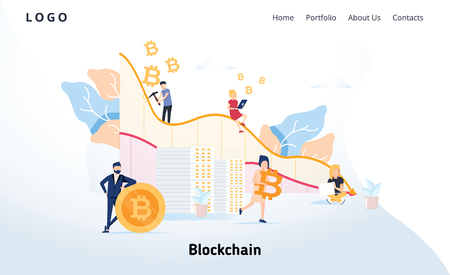 Blockchain modern flat design concept. Cryptocurrency and people concept. Landing page template. Conceptual crypto web Illustration