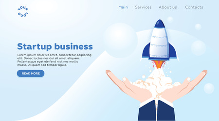 Concept startup launch of a new business for web page, banner, presentation, social media, business project start up. young emerging company Vector illustration, rocket launch into space, thinking