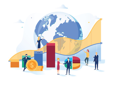 Stock market vector illustration. Flat mini money growth persons concept with positive and successful indicators global Stock Photo