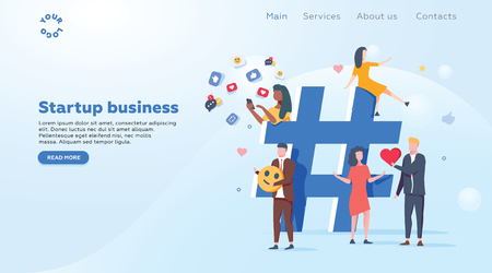 Relationship, online dating and networking concept - people sharing information via social media platforms and interacting with icons. Landing concept. Flat vector illustration. Social media marketing