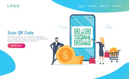 Concepto de ilustración de vector de escaneo de código QR, las personas usan teléfonos inteligentes y escanean el código qr para el pago y todo