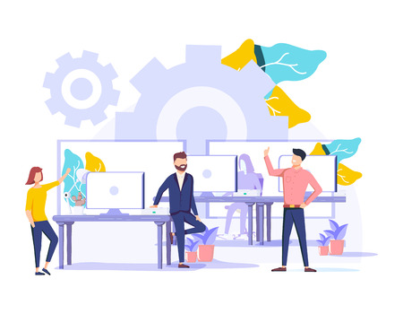 Coworking vector illustration. Stylized banner with people sharing office. Self directed, collaborative, flexible and voluntary work style for hipsters and freelancers. Modern brainstorming and talk.