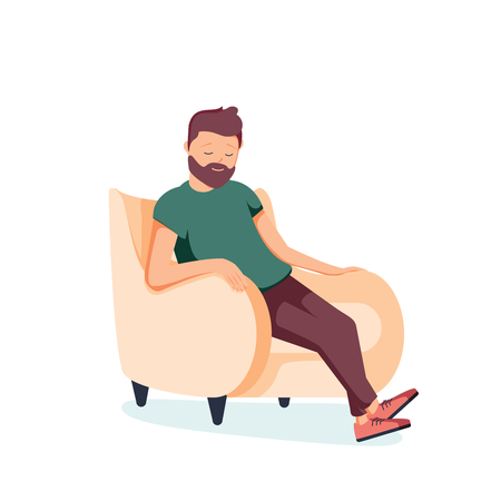 Bearded man sits in an armchair and sleeps. A person is resting or thinking about something good. Vector illustration in cartoon style. Tired businessman resting at home. Relaxation and healthcare