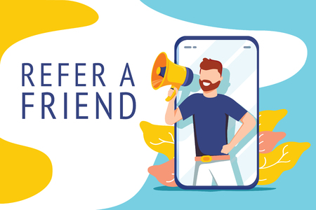 Refer a friend vector illustration concept, people shout on megaphone with refer a friend word, can use for landing page