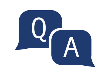 Question and answer icon in flat style. Discussion speech bubble vector illustration on white isolated background. Question, answer business concept. Help and customer service sign. FAQ solid icon