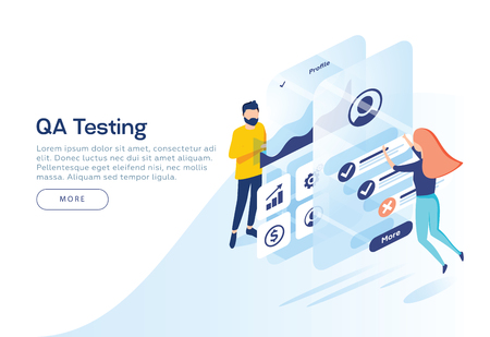 People testing the interface and usability of a mobile application. Landing page concept. Get rewards with a mobile application screen. Business and Success. 3d isometric vector illustration.