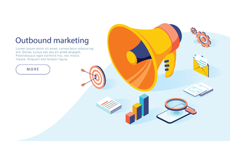Outbound marketing vector business illustration in isometric design. Offline or interruption marketing background. Megaphone with business icons, can use for landing page, template, ui web, mobile app 일러스트