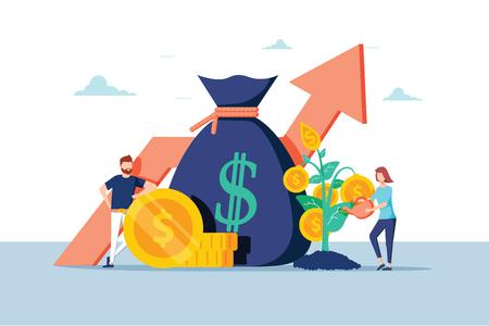 Gente de negocios financiera de inversión aumentando el capital y las ganancias. Riqueza y ahorro con personajes. Ganancias de dinero. Ilustración vectorial. Investigar y analizar el crecimiento financiero de las ganancias del negocio