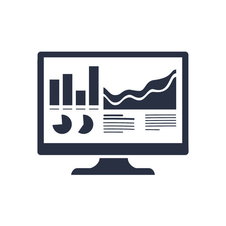 Analytics Monitor icon. Trendy flat vector Analytics Monitor icon on transparent background from Business and analytics collection. Vector seo icon, analytics, charts and statistics financial plan