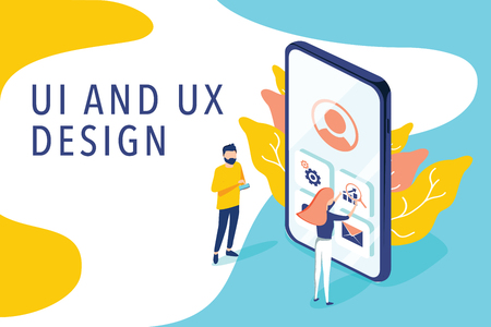 Isometric flat vector concept of UI and UX design process, mobile app development, GUI design. People testing the interface and usability of a mobile application. Landing page concept. Development