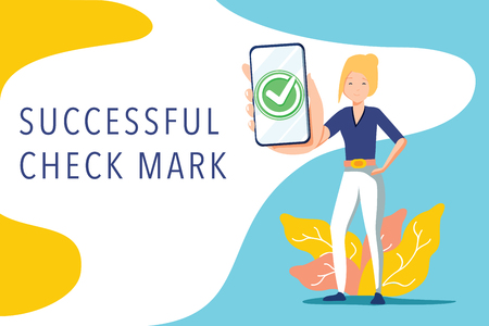 Handsome businesswoman showing smartphone display with successful check mark close up and winking. Friendly female character. Vector illustration. Agree or task check accept on mobile phone.
