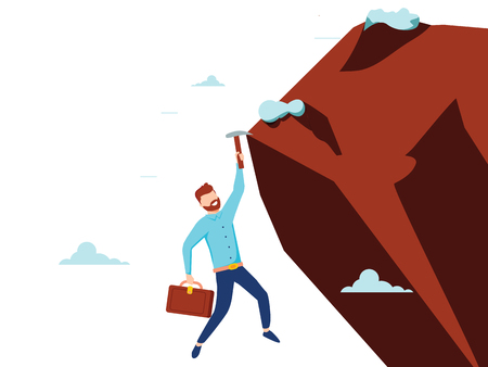 Vector flat style businessman climb the mountain cliff to reach his goal. Leadership concept. Minimalism design with people silhouettes. Symbol of ambition, motivation, success in career, promotion 일러스트