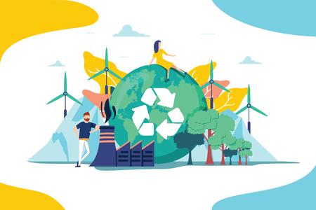 Illustration vectorielle de l'environnement. Collection de ressources naturelles renouvelables pour la durabilité de la terre. Les gens ont un effet sur le changement climatique. Énergie alternative et pensée organique et mode de vie. Symbole de recyclage. Vecteurs