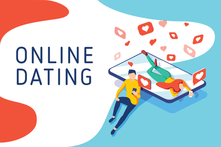 Virtual relationships, online dating and social networking concept, teenagers chatting on the Internet, vector 3d isometric illustration. Landing page concept. Chat with phone, smm or digital business 일러스트